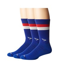 Drymax Sport Run Lite Mesh Crew 3 Pack Royale Red White Stripes Crew Cut Socks Shoes Blue
