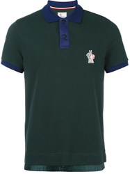 Moncler Grenoble Contrast Collar Polo Shirt Green