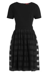 Hugo Dress With Sheer Striped Skirt Black