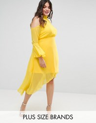 Truly You Cold Shoulder Midi Dress With Fluted Sleeve Yellow