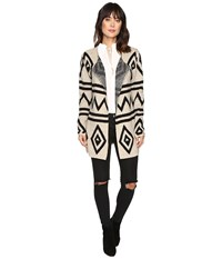 Brigitte Bailey Mae Fuzzy Geometric Cardigan Beige Black Women's Sweater