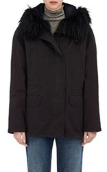 Army By Yves Salomon Women's Fur Trimmed Canvas Parka Navy