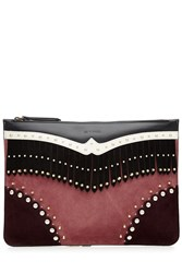 Etro Embellished Clutch With Leather And Suede Multicolor