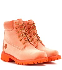 Off White X Timberland Velvet Ankle Boots Orange