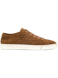 Santoni Braided Lace Up Sneakers Brown