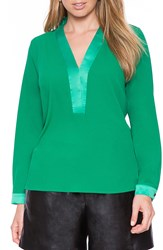 Eloquii Surplice V Neck Blouse Plus Size Emerald
