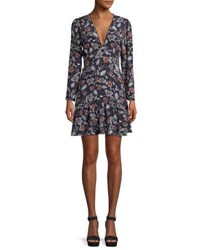 Ella Moss Lon Sleeve V Neck Floral Print Dress Multi