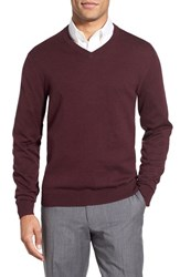 Nordstrom Men's Men's Shop Cotton And Cashmere V Neck Sweater Burgundy Fudge Heather
