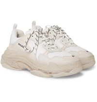 Balenciaga Triple S Clear Sole Mesh Nubuck And Leather Sneakers White