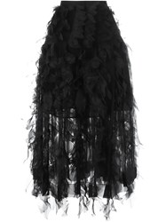 Rochas Layered Feather Effect Skirt Black