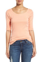 Women's Caslon Ballet Neck Cotton And Modal Knit Elbow Sleeve Tee Coral Pink