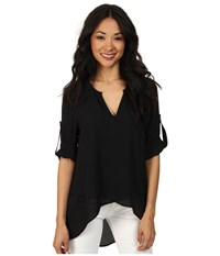 Karen Kane Asymmetrical Hem Wrap Top Black1 Women's Blouse