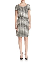 Oscar De La Renta Tweed Shift Dress Black Multi