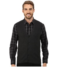 Perry Ellis Cotton Blend Solid Sweater Vest Charcoal Heather Men's Vest Gray