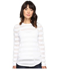 Michael Michael Kors Sheer Stripe Long Sleeve Crew White Women's Clothing