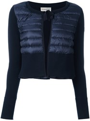 Moncler Padded Front Cropped Cardigan Blue
