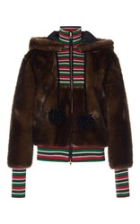 Stella Jean Striped Combo Faux Fur Hoodie Brown