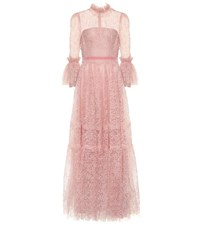 Costarellos Floral Lace Gown Pink