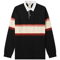 Remi Relief Stripe Rugby Shirt Black