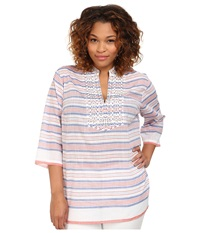 Michael Michael Kors Plus Size Deep Sea Stripe Tunic Royal Clementine Women's Long Sleeve Pullover Purple