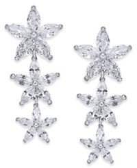 Joan Boyce Silver Tone Crystal Flower Linear Drop Earrings White
