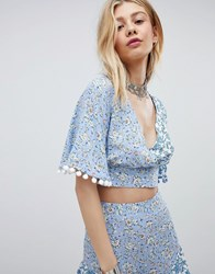 Kiss The Sky Floral Print Crop Top Co Ord Blue