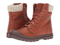 Palladium Pampa Hi Knt Lp Mocha Bisque Chestnut Women's Lace Up Casual Shoes Brown