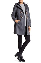 Kimi Kai Paisley Wool Blend Duffle Faux Leather Toggle Coat Maternity Gray