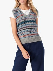 Brora Fair Isle Wool Tank Top Silver