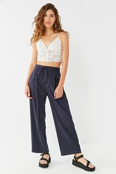 Urban Outfitters Uo Pinstripe Straight Leg Pant Navy