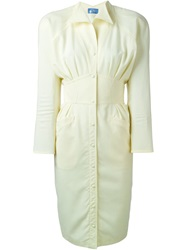 Thierry Mugler Vintage Fitted Shirt Dress Nude And Neutrals