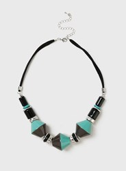 Dorothy Perkins Black And Green Beaded Necklace