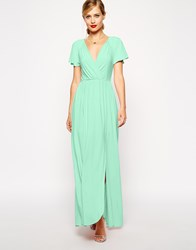 Asos Flutter Sleeve Wrap Maxi Dress Green