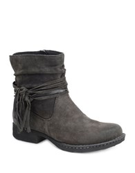 Born Cross Fringed Slouched Distressed Leather Ankle Boots Grey
