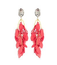 Marni Embellished Clip On Earrings Red