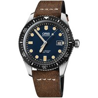 Oris 733 7720 4055 07 5 21 02 Men's Artelier Automatic Date Fabric Strap Watch Brown Navy