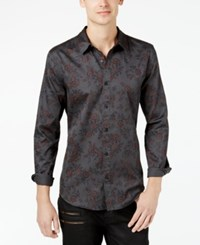 Guess Men's Cypress Floral Print Slim Fit Shirt Luxe Floral Serious Grey