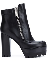 Mulberry Platform Sole Chunky Heel Boots Black