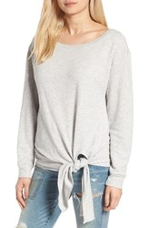Hinge Women's Tie Front Fleece Pullover Grey Heather
