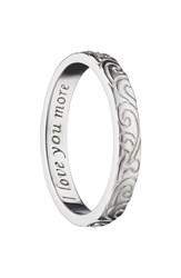 Monica Rich Kosann Love You More Scrollwork Poesy Ring Charm Sterling Silver