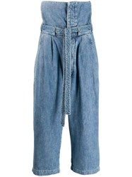 Loewe Extreme High Rise Cropped Jeans Blue