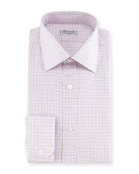 Charvet Plaid Twill Dress Shirt Pink Blue