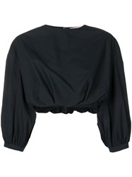 Brock Collection Cropped Billowing Blouse Blue