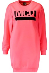 Mcq By Alexander Mcqueen Flocked Neon Cotton Blend Jersey Mini Dress Bright Pink