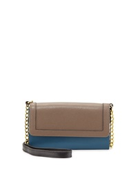 Neiman Marcus Colorblock Saffiano Leather Crossbody Wallet On Chain Taupe Teal