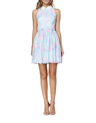 Cynthia Rowley Abstract Print Pleated A Line Dress Mint Multi