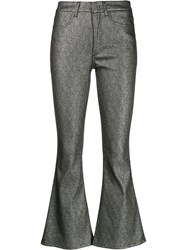 Dondup Metallic Flared Trousers Silver