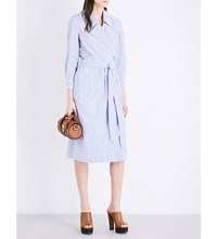 Burberry Eleonora Cotton Dress Pale Blue White