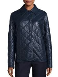 The Row Bastian Quilted Leather Coat Navy