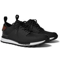 Berluti Run Track Leather And Neoprene Sneakers Black